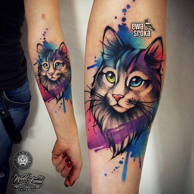 watercolor cat tattoo 10