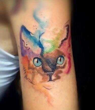 watercolor cat tattoo 3