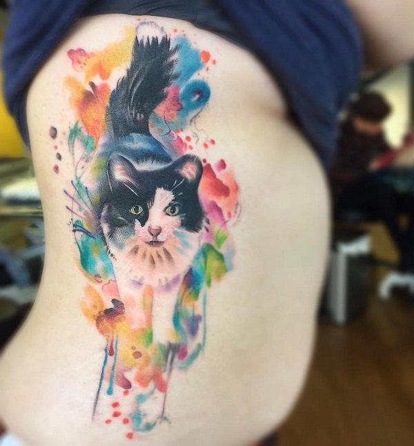 watercolor cat tattoo 7