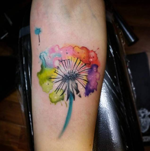 watercolor-dandelion-tattoo-dandelion-tattoos 1