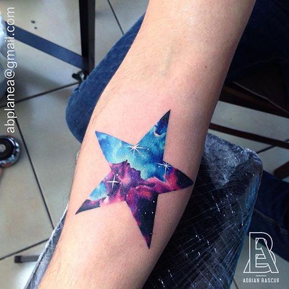 watercolor star tattoo 4