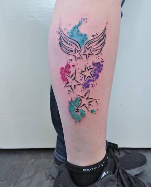 watercolor star tattoo 8