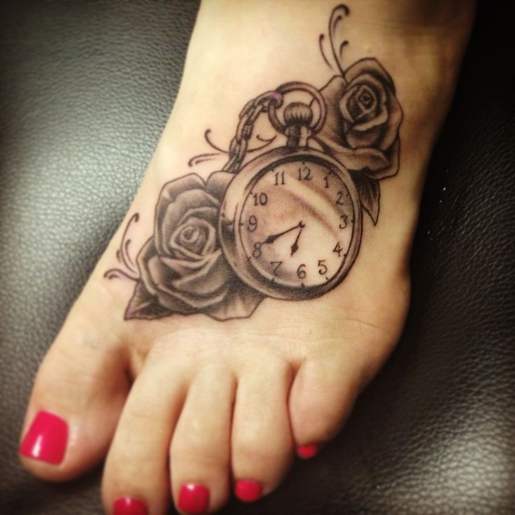 Grey-Rose-Flowers-And-Clock-Tattoo-On-Left-Foot-For-Girls.jpg