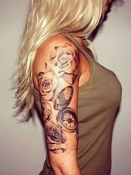 Simple-Lovely-Half-Sleeve-Cover-Up-With-Outstanding-Clock-Tattoo-Design-For-Cool-Women.jpg