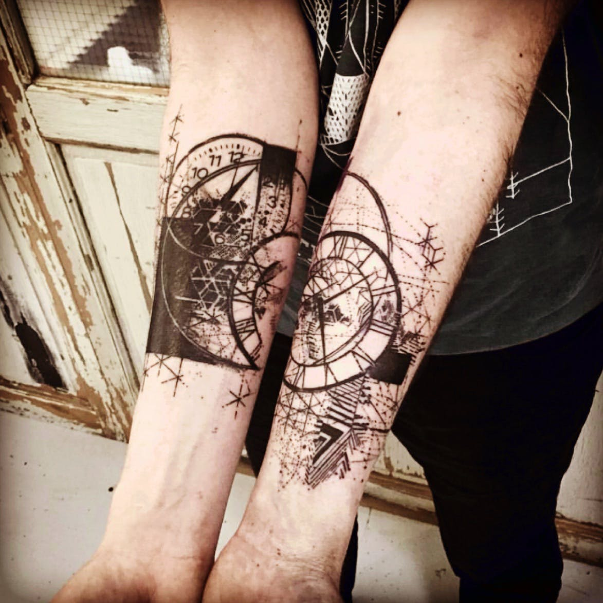 geometric clock tattoo 3