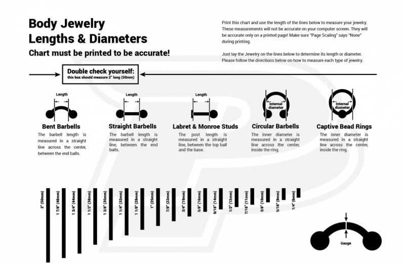 body jewelry size chart