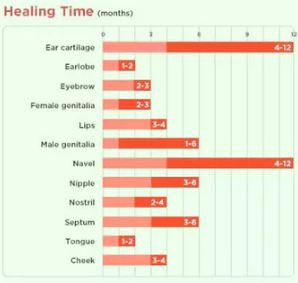 piercing healing chart