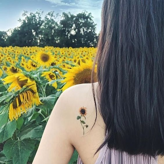 Cute sunflower tattoo