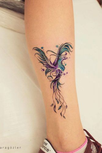 Phoenix tattoo on the leg