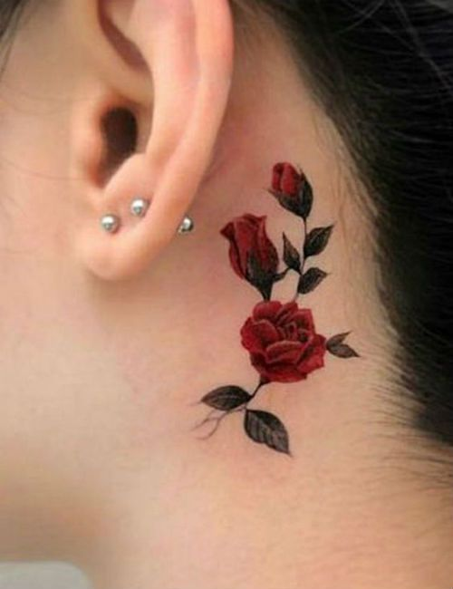 Rose tattoo behind the ear
