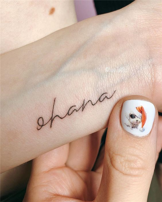 Small ohana tattoo on the wrist