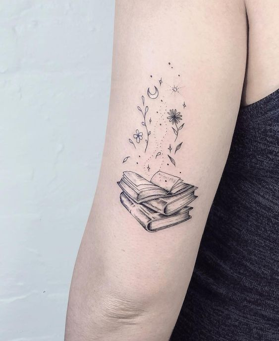 Tattoos of books on the arm